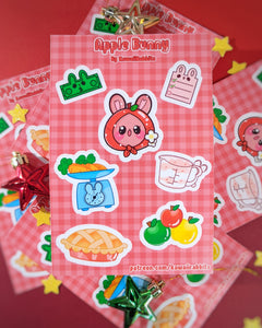 Apple Bunny 4x6 Sticker Sheet (Patreon Exclusive)