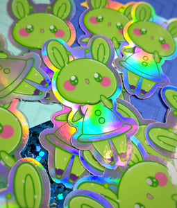 "3"" Alien Bun Holographic Sticker"