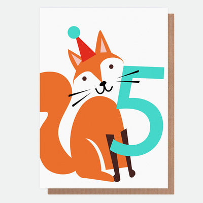 fox-5th-birthday-card-neo032-Single Cards-1