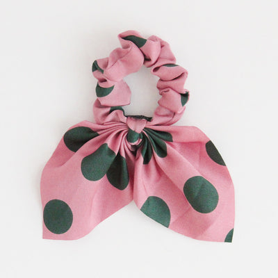 pink-green-polka-dot-hair-scrunchie-bht100-Hair Accessories-1