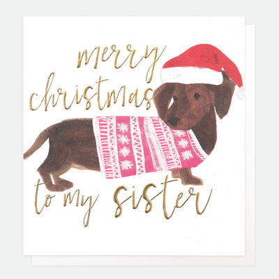 sausage-dog-christmas-card-for-sister-qux005-Single Cards-1