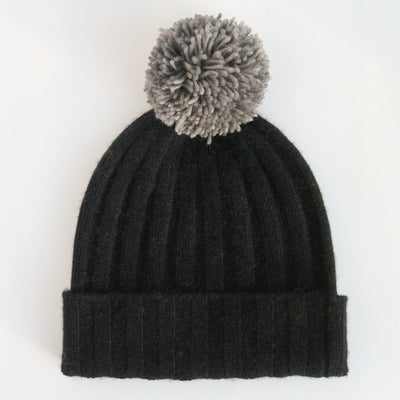 black-cashmere-bobble-hat-with-grey-wool-pom-da6322-Hats-1