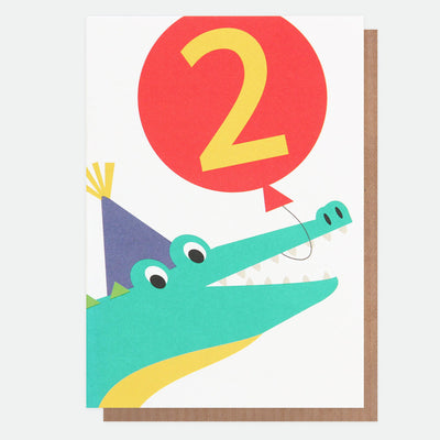 crocodile-2nd-birthday-card-neo025-Single Cards-1