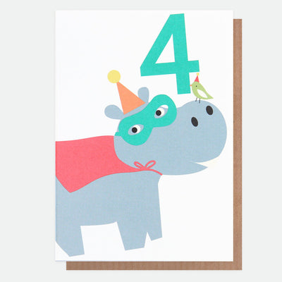 hippo-superhero-4th-birthday-card-neo027-Single Cards-1