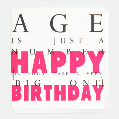 neon-pink-age-is-just-a-number-birthday-card-ovr004-Single Cards-1