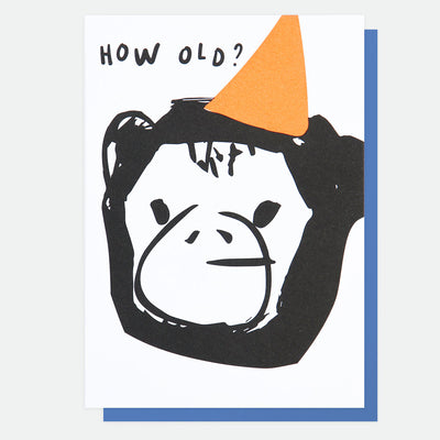 neon-monkey-how-old-birthday-card-scr003-Single Cards-1