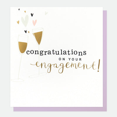 champagne-flutes-engagement-card-gol023-Single Cards-1