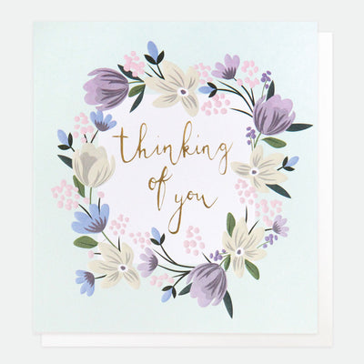 floral-garland-thinking-of-you-card-gld012-Single Cards-1