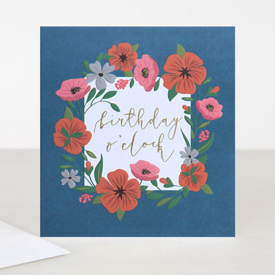 floral-garland-birthday-oclock-card-gld004-Single Cards-1