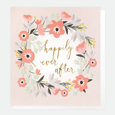 floral-garland-happily-ever-after-wedding-card-gld011-Single Cards-1