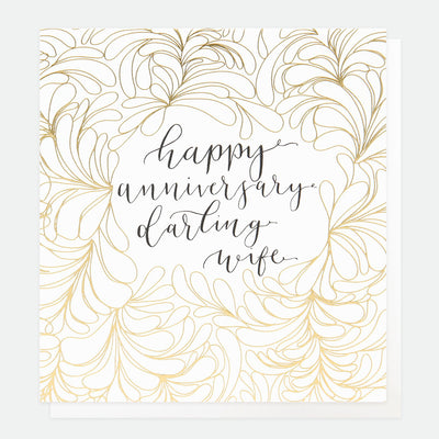 gold-calligraphy-anniversary-card-for-wife-ref009-Single Cards-1