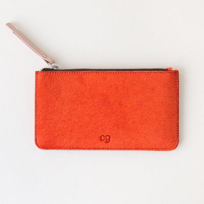 orange-pony-skin-leather-zip-top-purse-da5681-Purses and Pouches-1