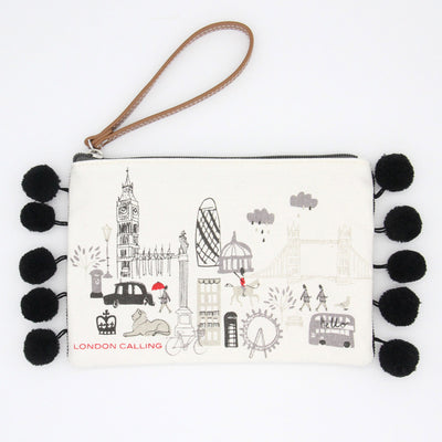 canvas-london-clutch-bag-with-poms-da5200-Purses and Pouches-1