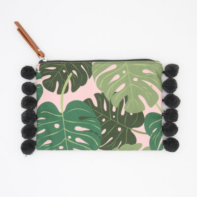 canvas-tropical-clutch-bag-with-poms-da5677-Purses and Pouches-1