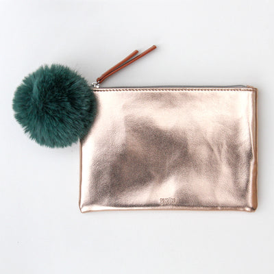 rose-gold-pouch-with-green-faux-fur-pom-pop100-Purses and Pouches-1