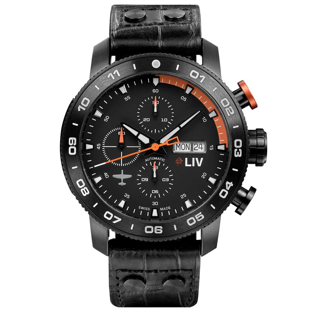 LIV P-51 Black Titanium Chrono Black / Orange