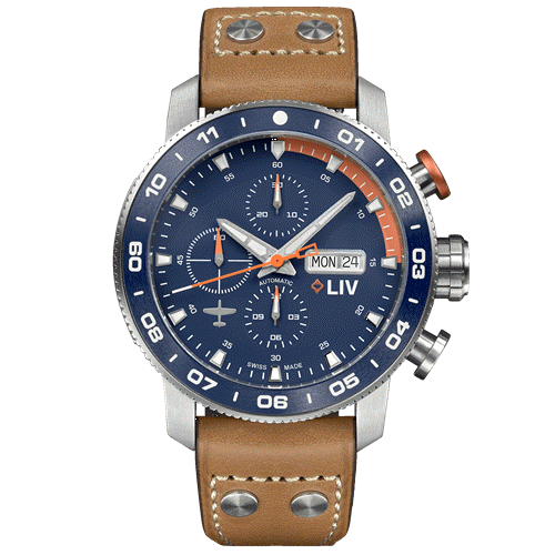 LIV P-51 Titanium Chrono Blue / Orange