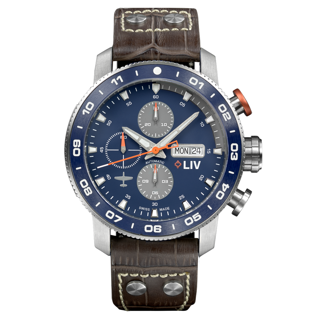 LIV P-51 Swiss Pilot Ceramic Auto Chronograph Titanium Blue / Gray - LIV Swiss Watches