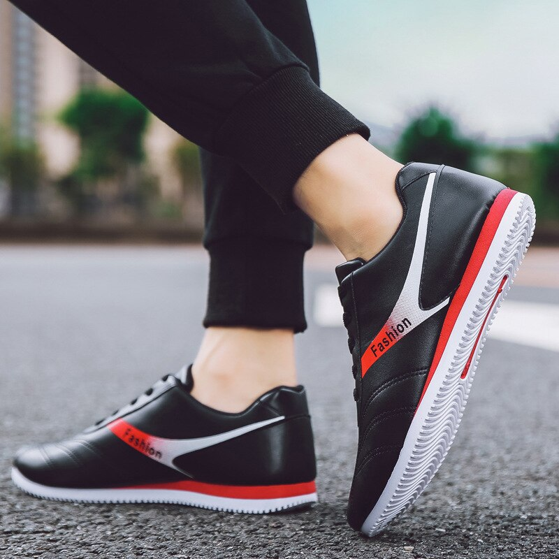 Mens Sneakers PU Spring//Fall Comfort Athletic Shoes Casual Running Shoes Black//Gray//Red Color : Gray, Size : 39