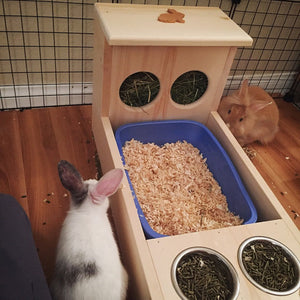 XL rabbit Hay Feeder with Litter Box and Bowls