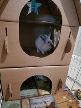 Load image into Gallery viewer, Cardboard Bunny And Kitty Cat  Castle House