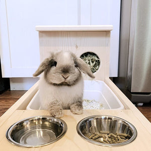 Rabbit Hay Feeder With Litter Box, Food and Water Bowls