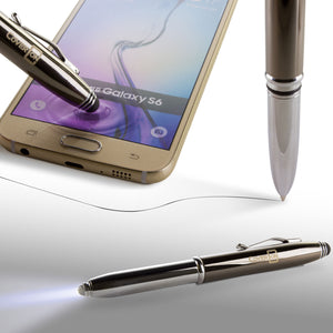 Premium Smooth Writing Ballpoint Pen with Touchscreen Stylus and LED Flashlight - Black Ink