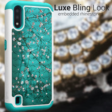 Load image into Gallery viewer, Samsung Galaxy A01 (US Version) Case - Rhinestone Bling Hybrid Phone Cover - Aurora Series