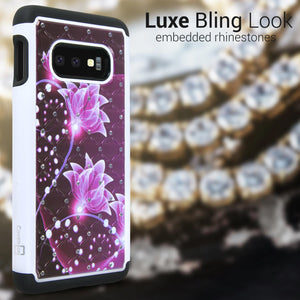 Samsung Galaxy S10e Case - Rhinestone Bling Hybrid Phone Cover - Aurora Series