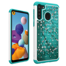 Load image into Gallery viewer, Samsung Galaxy A21 Case - Rhinestone Bling Hybrid Phone Cover - Aurora Series