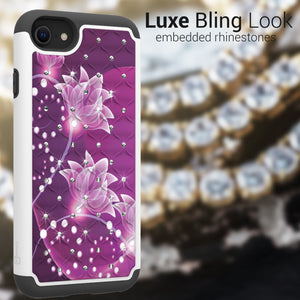 Apple iPhone SE 2020 / iPhone 8 / iPhone 7 Case - Rhinestone Bling Hybrid Phone Cover - Aurora Series
