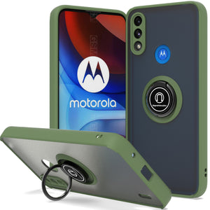 Motorola Moto E7 Power Case - Clear Tinted Metal Ring Phone Cover - Dynamic Series