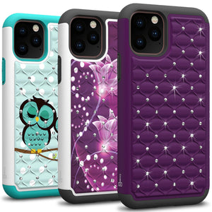 iPhone 11 Pro Max Case - Rhinestone Bling Hybrid Phone Cover - Aurora Series