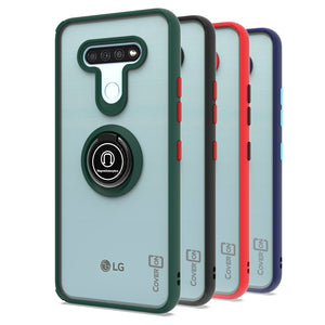 LG K51 / Reflect Case - Clear Tinted Metal Ring Phone Cover - Dynamic Series