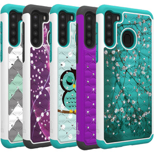 Samsung Galaxy A21 Case - Rhinestone Bling Hybrid Phone Cover - Aurora Series