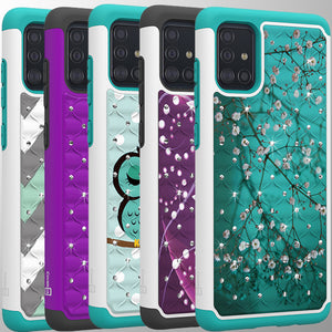Samsung Galaxy A71 Case - Rhinestone Bling Hybrid Phone Cover - Aurora Series