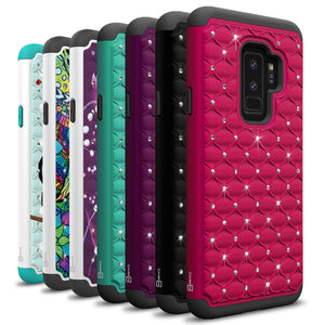 Samsung Galaxy S9 Plus Case - Rhinestone Bling Hybrid Phone Cover - Aurora Series
