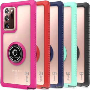 Samsung Galaxy Note 20 Ultra Case - Clear Tinted Metal Ring Phone Cover - Dynamic Series