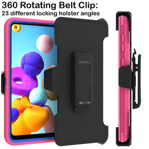 Samsung Galaxy A21 Holster Case - Heavy Duty Shockproof Case with Belt Clip