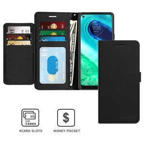 Motorola Moto G Fast Wallet Case - RFID Blocking Leather Folio Phone Pouch - CarryALL Series