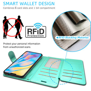Apple iPhone 12 Pro / iPhone 12 Max Wallet Case - RFID Blocking Leather Folio Phone Pouch - CarryALL Series