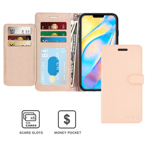 Apple iPhone 12 Pro / iPhone 12 Wallet Case - RFID Blocking Leather Folio Phone Pouch - CarryALL Series