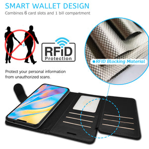 Apple iPhone 12 Mini Wallet Case - RFID Blocking Leather Folio Phone Pouch - CarryALL Series