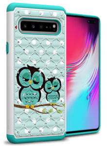 Samsung Galaxy S10 5G Case - Rhinestone Bling Hybrid Phone Cover - Aurora Series