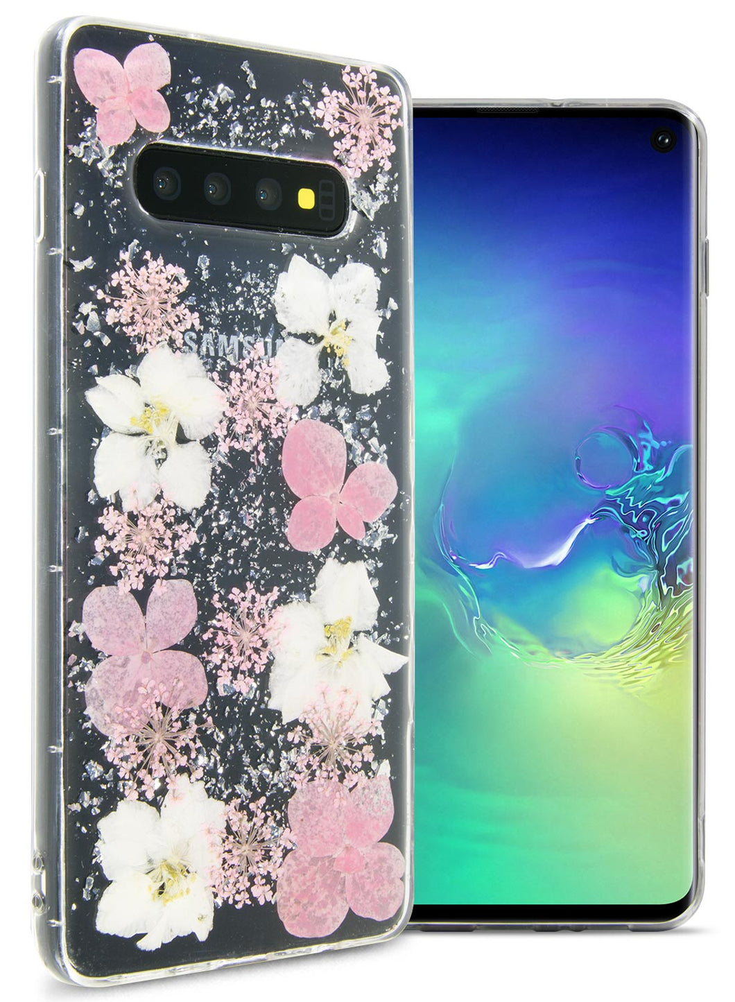 Samsung Galaxy S10 Flower Case Handmade Slim Fit TPU Phone Cover - Real Flower TPU Series