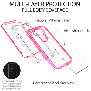 LG Phoenix 5 / Fortune 3 Clear Liquid Glitter Case -  Full Body Tough Military Grade Shockproof Phone Cover