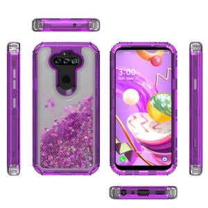LG Tribute Monarch / Risio 4 / K8x Clear Liquid Glitter Case -  Full Body Tough Military Grade Shockproof Phone Cover