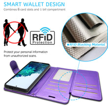 Load image into Gallery viewer, Samsung Galaxy S21 Wallet Case - RFID Blocking Leather Folio Phone Pouch - CarryALL Series