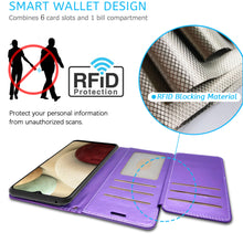 Load image into Gallery viewer, Samsung Galaxy A12 Wallet Case - RFID Blocking Leather Folio Phone Pouch - CarryALL Series