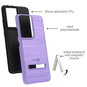 Samsung Galaxy S21 Ultra Case - Metal Kickstand Hybrid Phone Cover - SleekStand Series